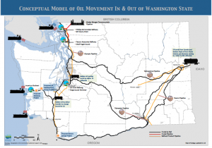 Map of various transportation pathways. Courtesy of Dept. of Ecology