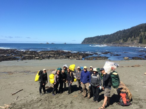 "Olympic Coast National Marine Sanctuary Staff & Volunteers show off their ""catch"" during the recent April Coastal Cleanup."